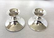 Mini pair of Cabaret candlesticks from L J Millington Silversmiths Birmingham West Midlands UK