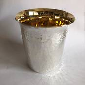 NEW Sterling Silver Beaker - Hammered from L J Millington Silversmiths Birmingham West Midlands UK