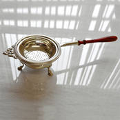 Tea Strainer - Mounted Strainer and Bowl from L J Millington Silversmiths Birmingham West Midlands UK
