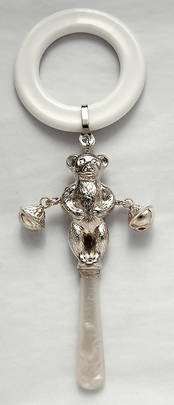 Victorian Style Baby Rattle - Teddy from L J Millington Silversmiths Birmingham West Midlands UK