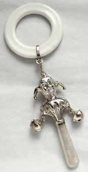 Victorian Style Baby Rattle - Jester from L J Millington Silversmiths Birmingham West Midlands UK